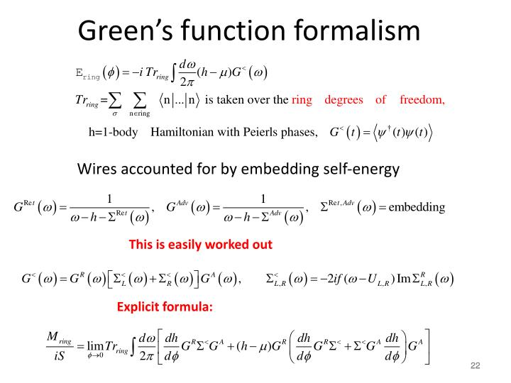 Green's function formalism