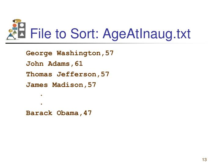 File to Sort: AgeAtInaug.txt