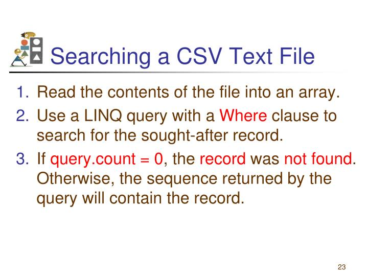 Searching a CSV Text File