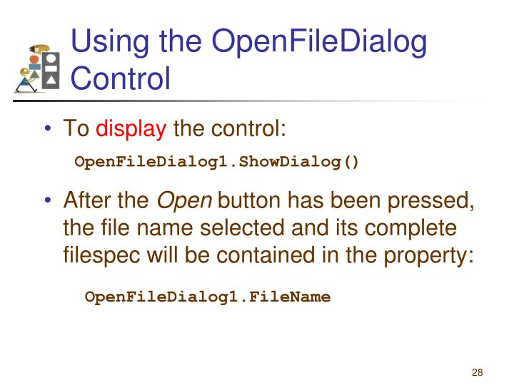 Using the OpenFileDialog Control