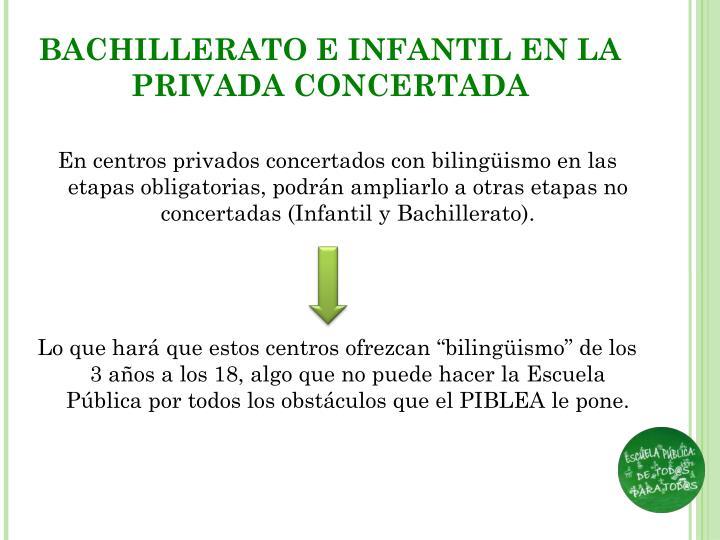 BACHILLERATO E INFANTIL EN LA PRIVADA CONCERTADA