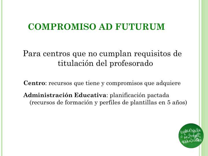 COMPROMISO AD FUTURUM