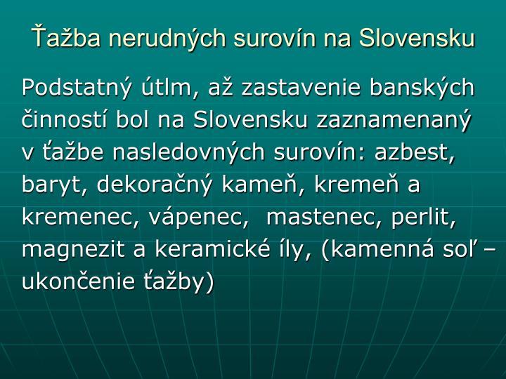 Ťažba nerudných surovín na Slovensku