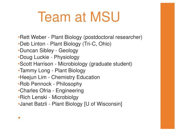 Team at MSU