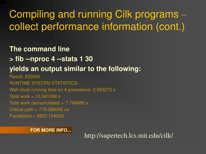 Compiling and running Cilk programs