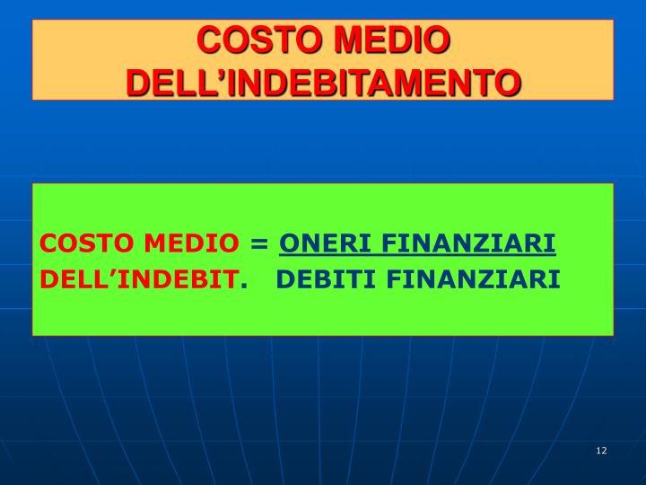 COSTO MEDIO DELL'INDEBITAMENTO