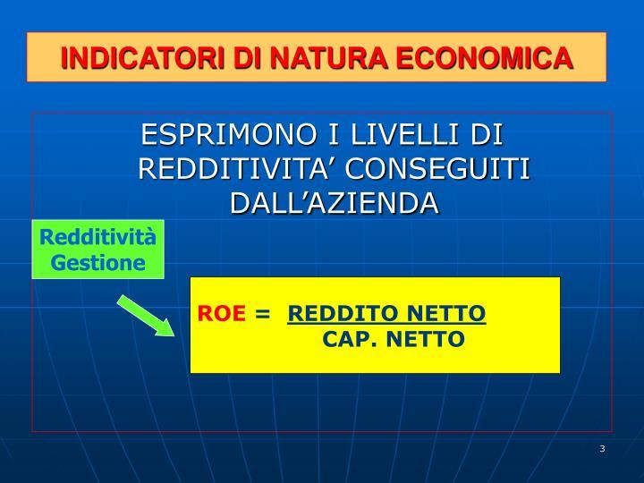 INDICATORI DI NATURA ECONOMICA