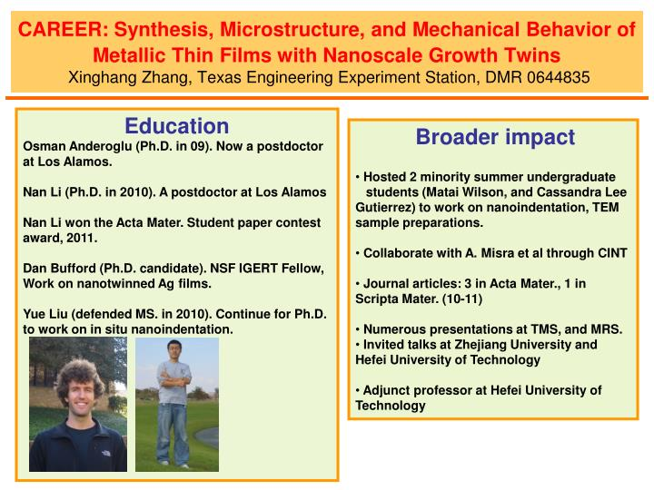 CAREER: Synthesis, Microstructure, and Mechanical Behavior of Metallic Thin Films with