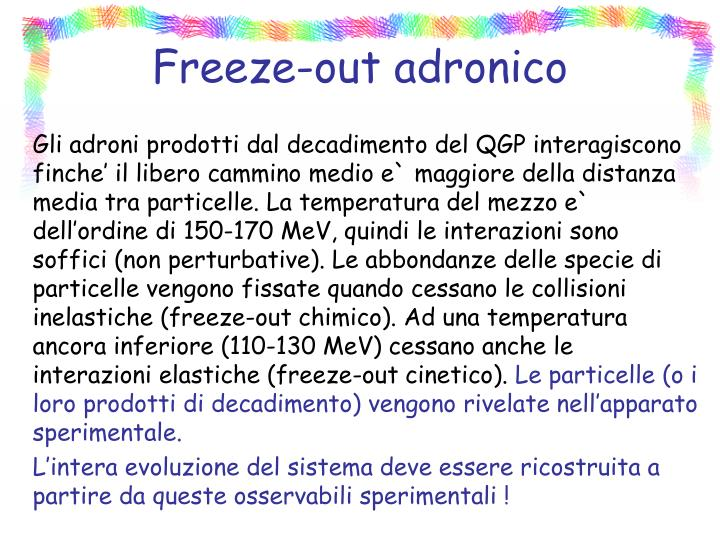Freeze-out adronico