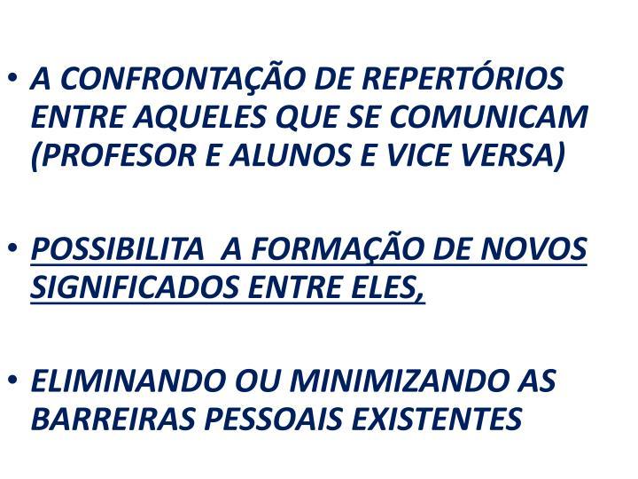 A CONFRONTAÇÃO DE REPERTÓRIOS ENTRE AQUELES QUE SE COMUNICAM (PROFESOR E ALUNOS E VICE VERSA)