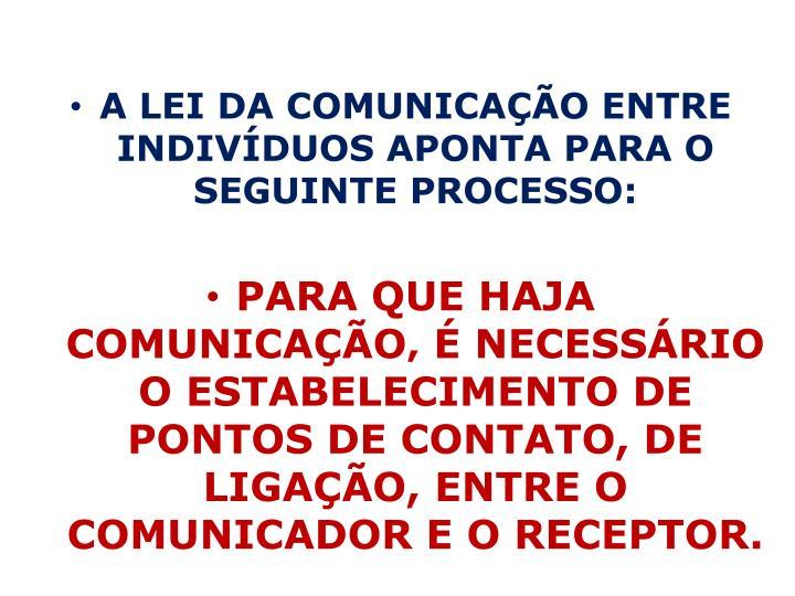 A LEI DA COMUNICAÇÃO ENTRE INDIVÍDUOS APONTA PARA O SEGUINTE PROCESSO: