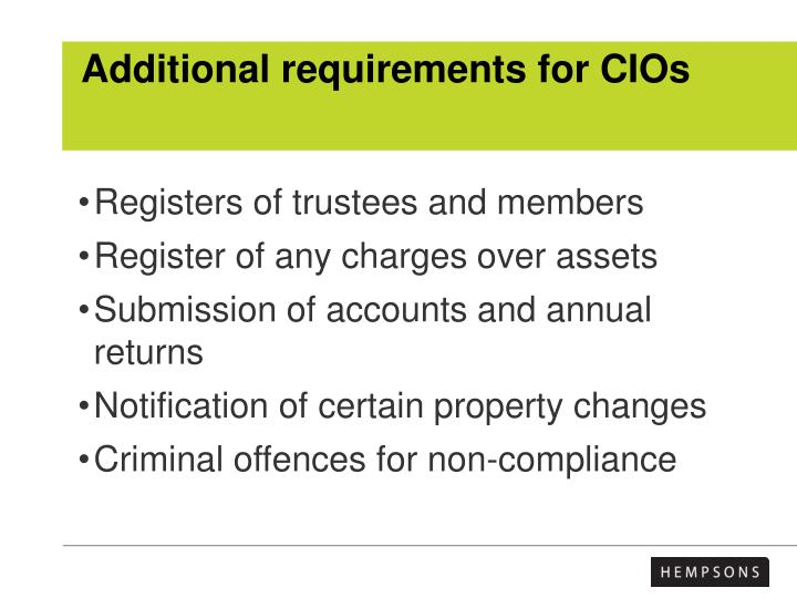 Additional requirements for CIOs