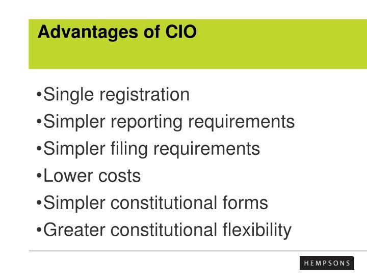Advantages of CIO
