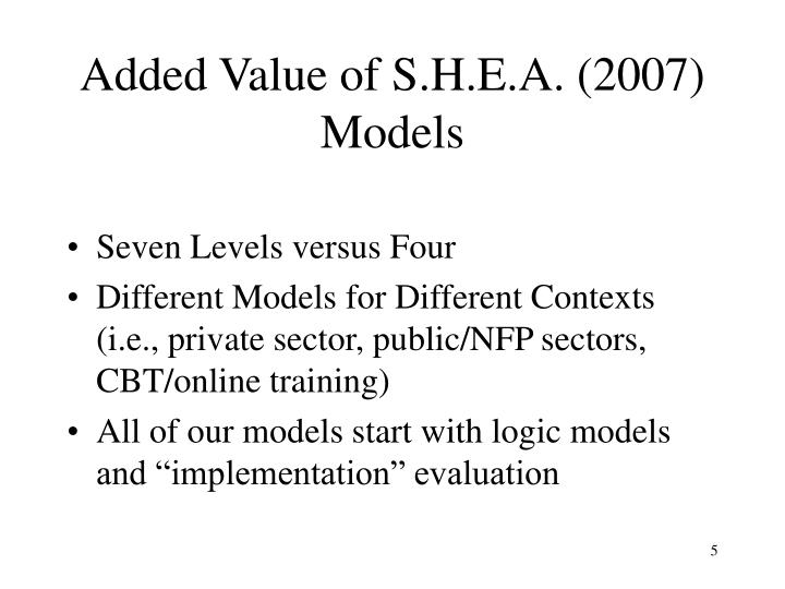 Added Value of S.H.E.A. (2007) Models
