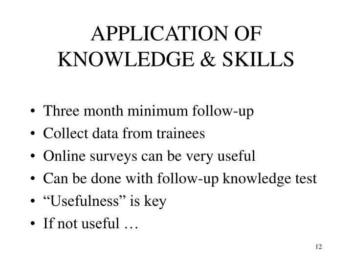 APPLICATION OF KNOWLEDGE & SKILLS