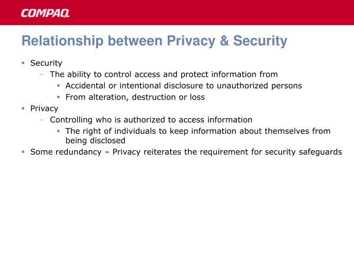 Relationship between Privacy & Security