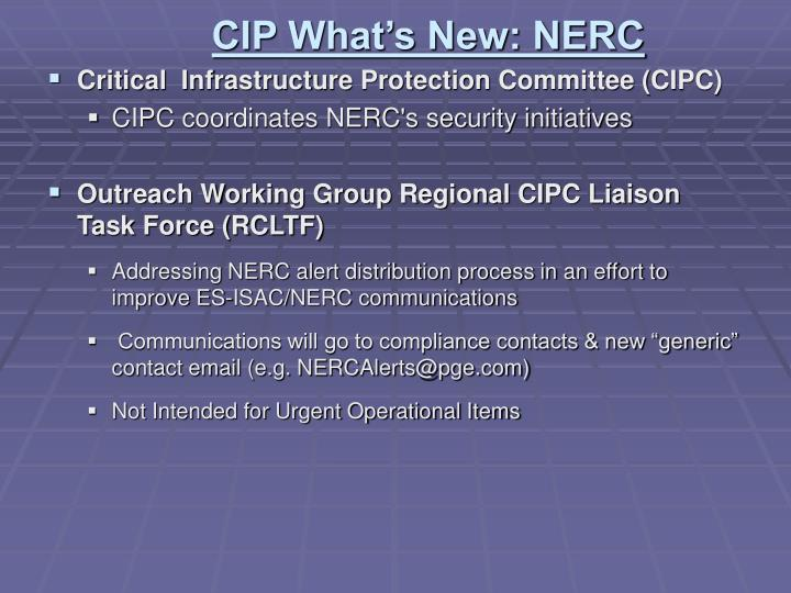 CIP What's New: NERC