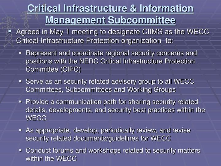 Agreed in May 1 meeting to designate CIIMS as the WECC Critical Infrastructure Protection organization  to: