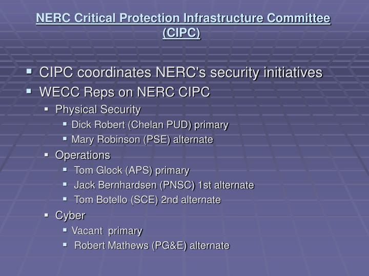 NERC Critical Protection Infrastructure Committee (CIPC)