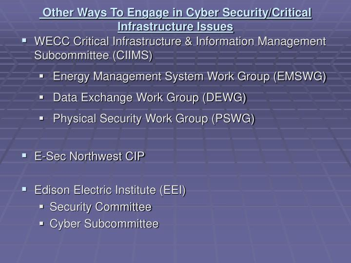 Other Ways To Engage in Cyber Security/Critical Infrastructure Issues