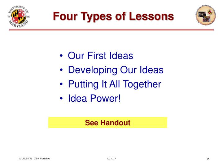 Four Types of Lessons