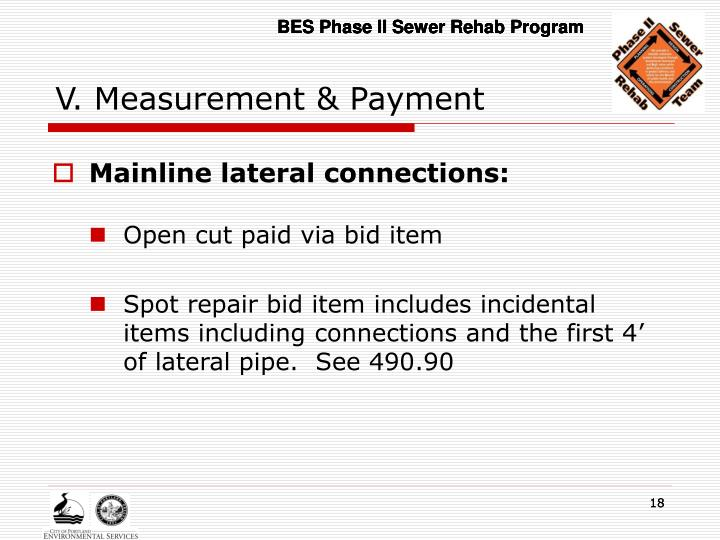 V. Measurement & Payment