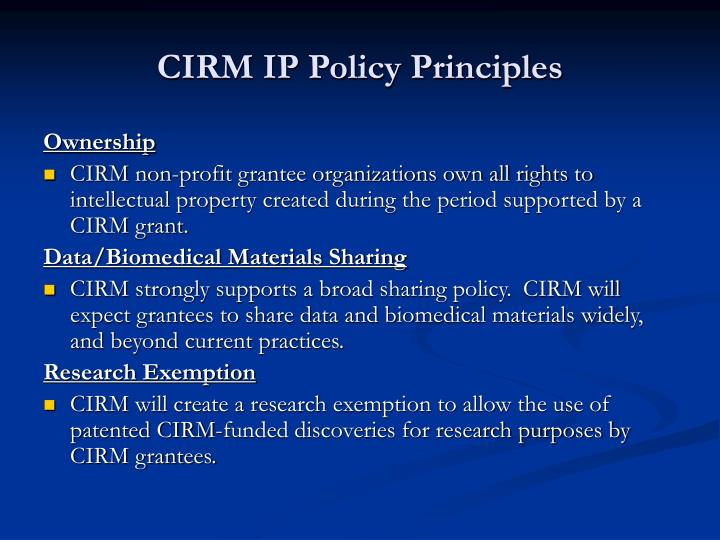 CIRM IP Policy Principles