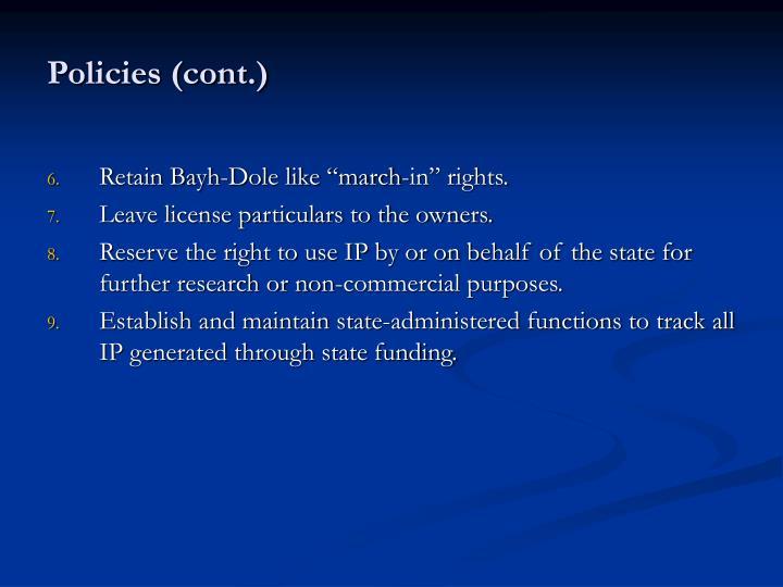 Policies (cont.)