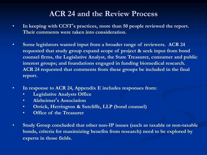 ACR 24 and the Review Process
