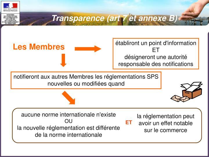 Transparence (art 7 et annexe B)