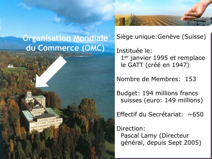 Siège unique:Genève (Suisse)