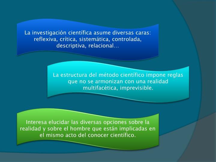 La investigación científica asume diversas caras: reflexiva, crítica, sistemática, controlada, descriptiva, relacional…