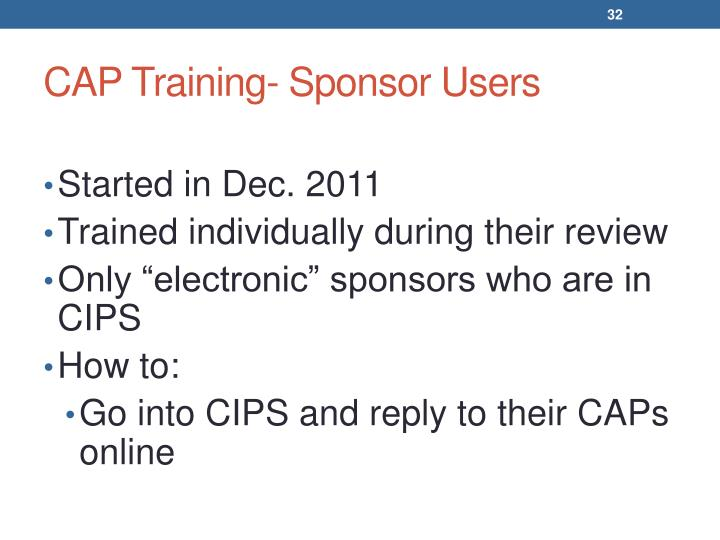 CAP Training- Sponsor Users