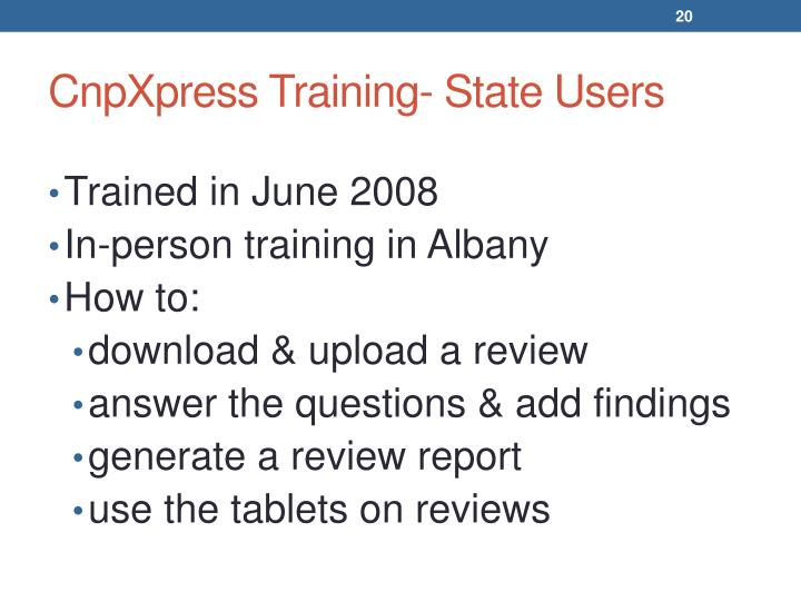 CnpXpress Training- State Users