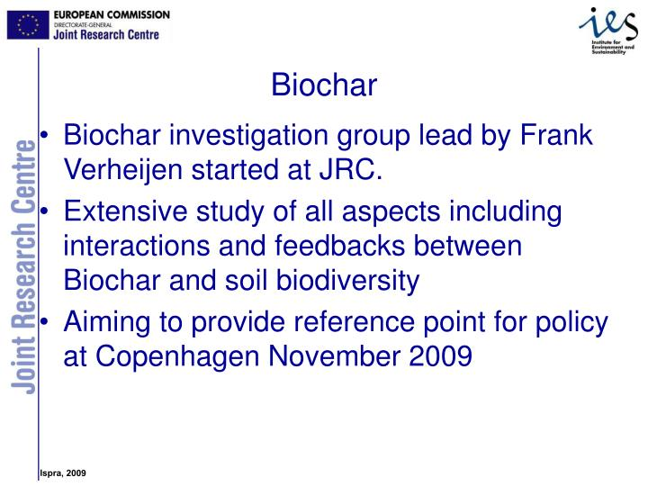 Biochar investigation group lead by Frank Verheijen started at JRC.