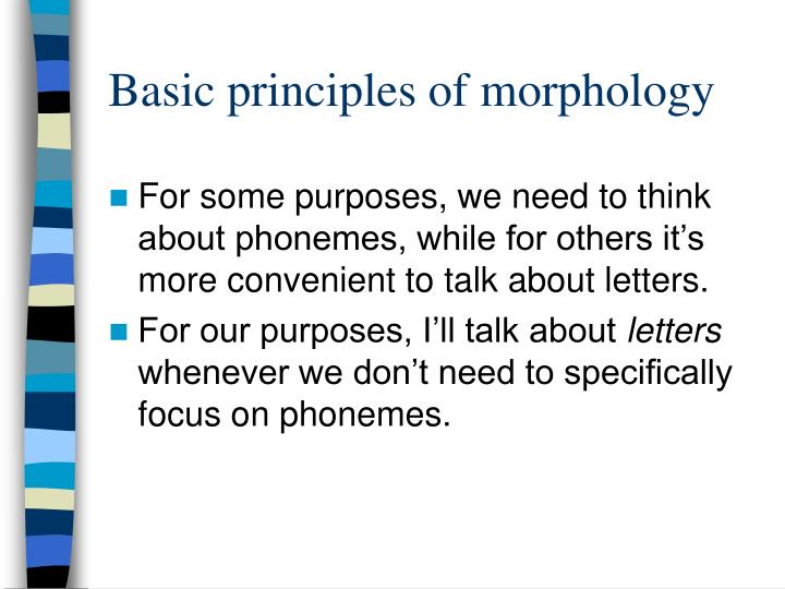 Basic principles of morphology