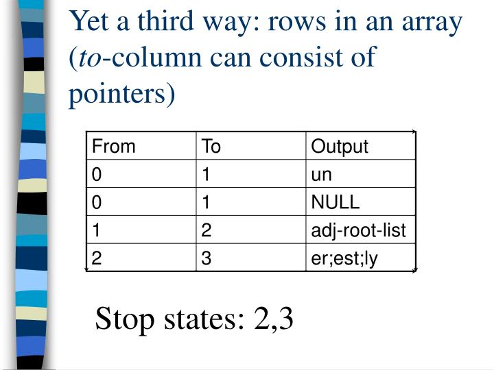 Yet a third way: rows in an array