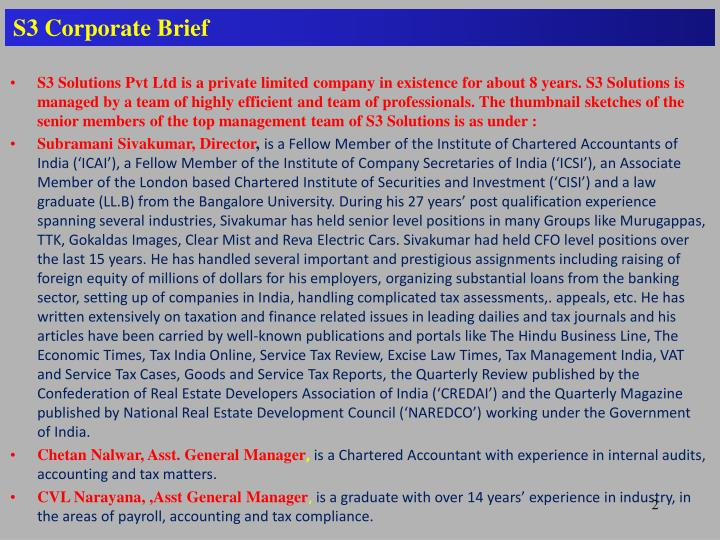 S3 Corporate Brief