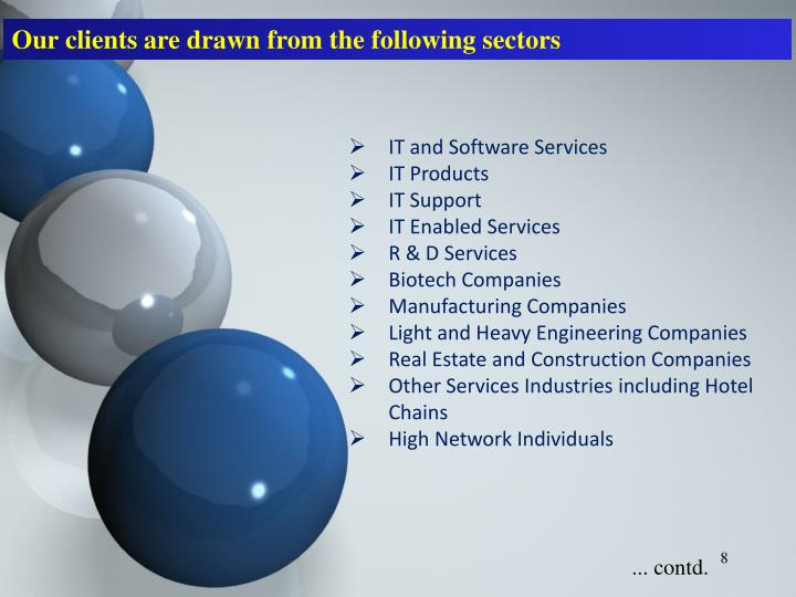 Our clients are drawn from the following sectors