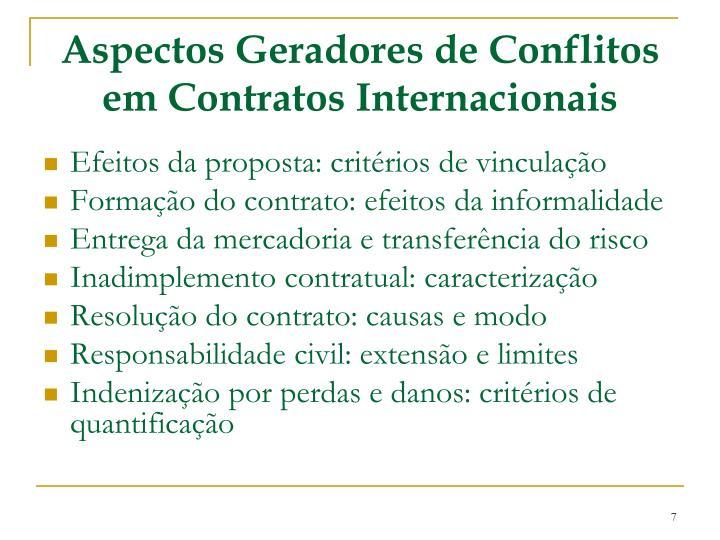 Aspectos Geradores de Conflitos em Contratos Internacionais