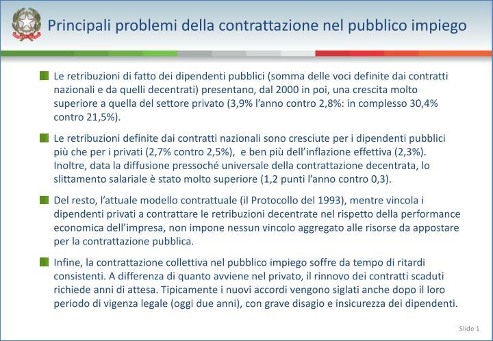 Principali problemi della contrattazione nel pubblico impiego