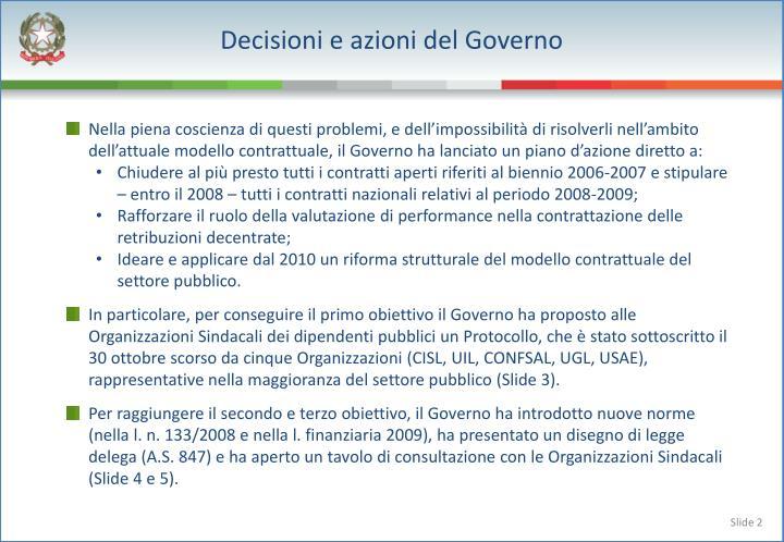Decisioni e azioni del Governo