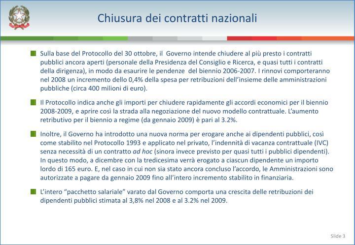Chiusura dei contratti nazionali