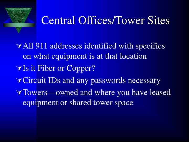 Central Offices/Tower Sites