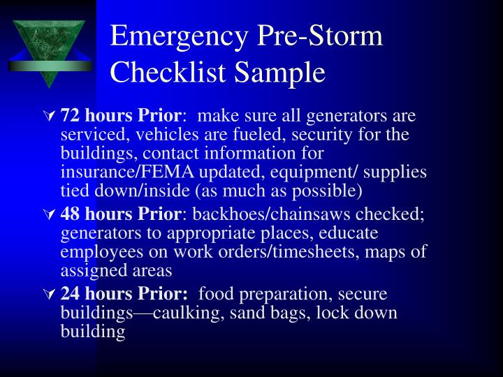 Emergency Pre-Storm Checklist Sample