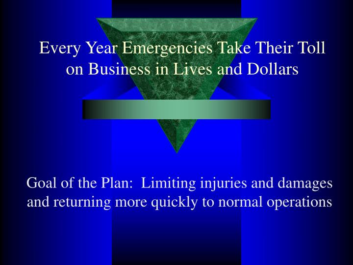 Every Year Emergencies Take Their Toll on Business in Lives and Dollars
