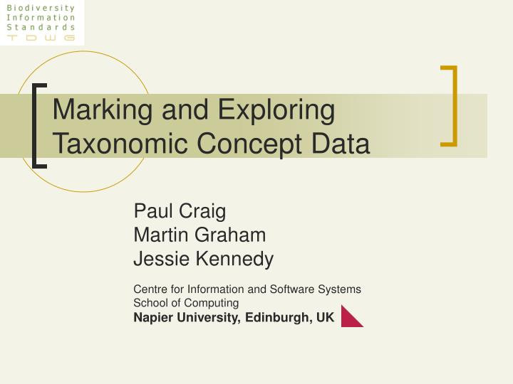 Marking and exploring taxonomic concept data