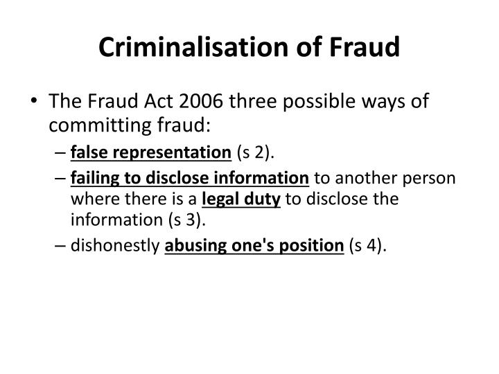 Criminalisation of Fraud