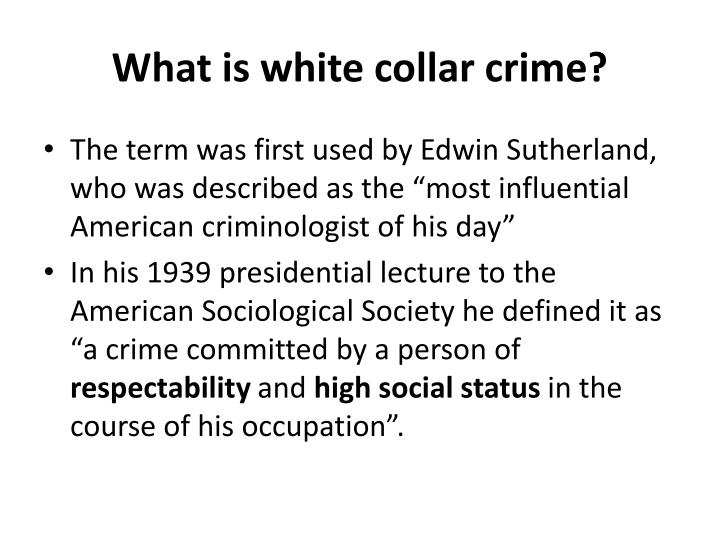 What is white collar crime