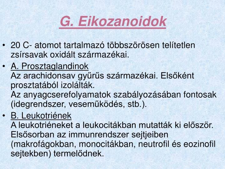 G. Eikozanoidok